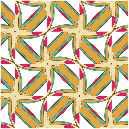 bright pattern in the style of the fifties, colorful kaleidoscope of red, orange and neon Illustration