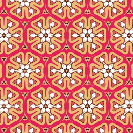 glamorous: Glamorous red black geometric pattern with abstract ethnic ornament Illustration