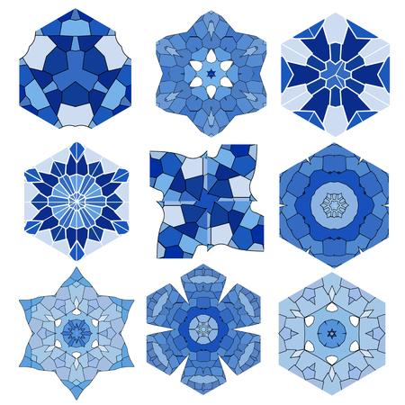 Mozaïek abstracte patronen in de vorm van blauwe kristallen en ijs Stock Illustratie