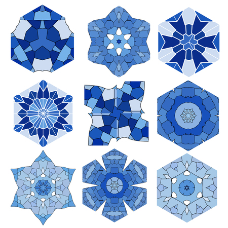 Mosaic abstract patterns in the form of blue crystals and ice