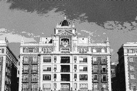 details: modern details architecture of the Spanish city of Malaga. black and white in vintage style engraving