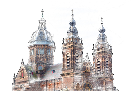 pensil: St. Nicolas Church in Amsterdam. Amsterdam is capital and most famous city of the Netherlands. Drawing pensil colored. Stock Photo
