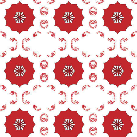 peculiar: Primitive simple,red modern pattern with lines and flowers
