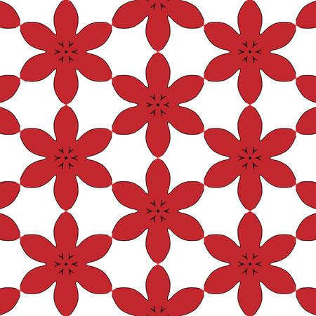 Semplice primitivo, modello rosso moderno con linee e fiori Archivio Fotografico - 54869130