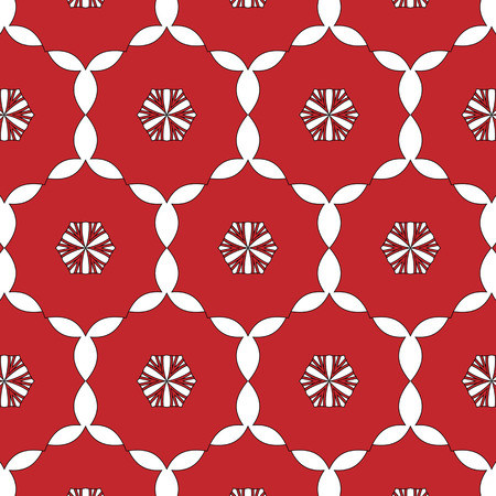 especial: Primitive simple,red modern pattern with lines and flowers