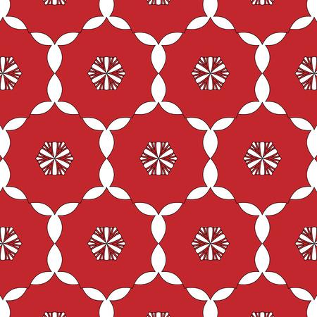 Semplice primitivo, modello rosso moderno con linee e fiori Archivio Fotografico - 54869129