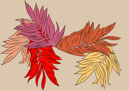 sycamore leaf: Autumn is a romantic pattern of large leaves red and orange.
