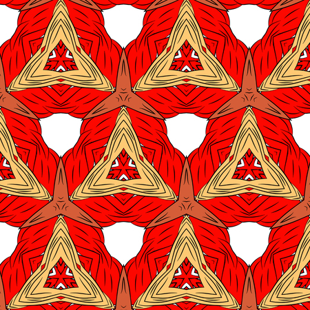 peculiar: Primitive simple red modern pattern with lines and flowers