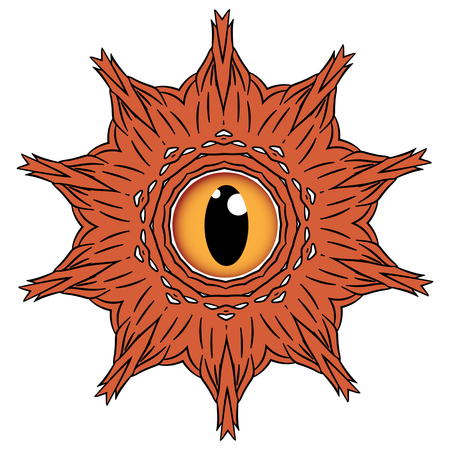 eye ball: Forest monster in form of furry brown ball with one big eye