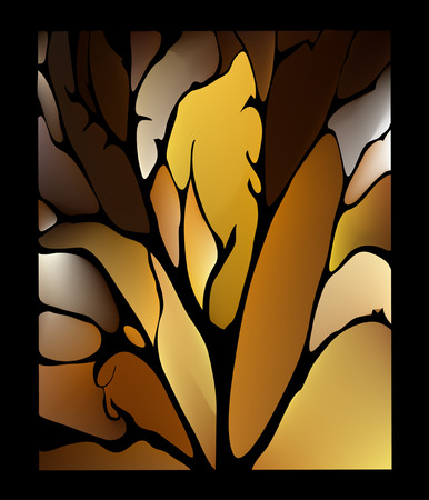 fantastic: Dark chocolate brown background stained glass window with fantastic leaves