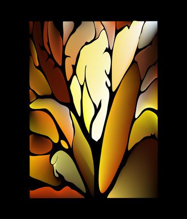 Donkere chocolade bruine achtergrond glas in lood raam met een fantastisch bladeren