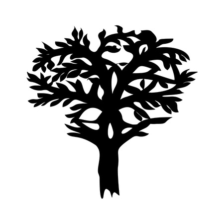 celtic symbol: Stylized decorative image tree with horns in form of Celtic symbol. Black and white.