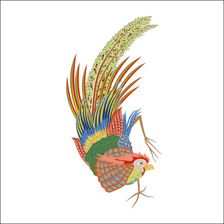 large bird: Fabulous large bird with Golden feathers. Japanese and Chinese style of painting.