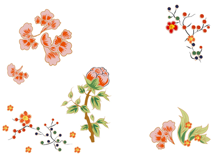 fabulous: Fabulous flowers with bright red berries. Japanese and Chinese style of painting. Illustration