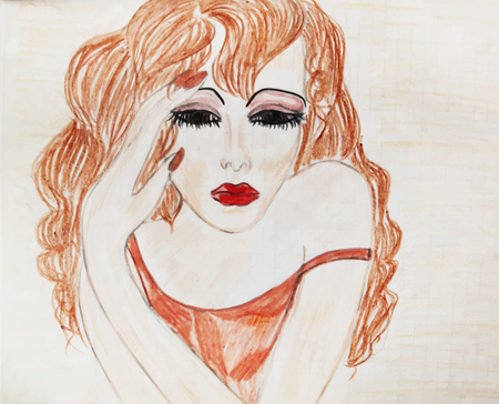 long red hair: Portrait of a girl with long red hair. The drawing is made by hand with colored pencils. Illustration