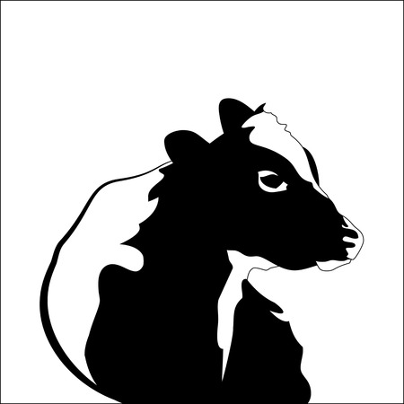 abstract portrait: Abstract portrait of big cow. Black and white silhouette of cow on white background.