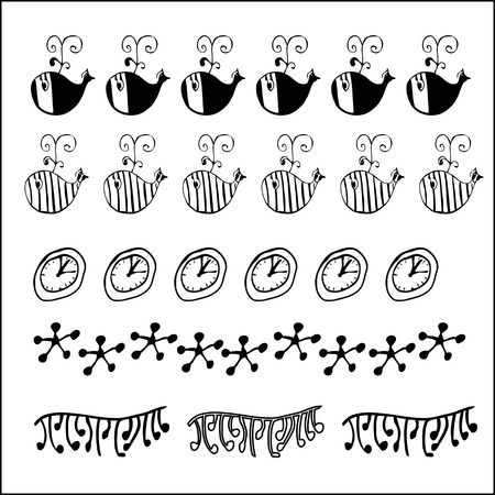 Set of Hand drawn ornament border set and fashion abstract design element