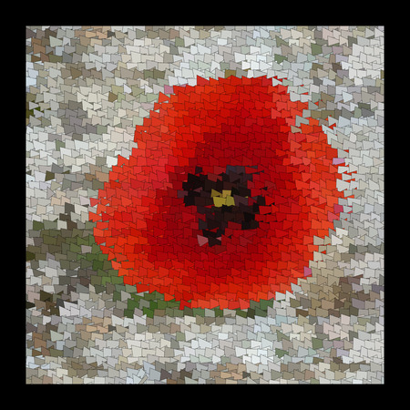 The flowers of red poppy closeup on grey background. Art quilt and mozaic. Color harmony in needlework. The picture art on the wall.