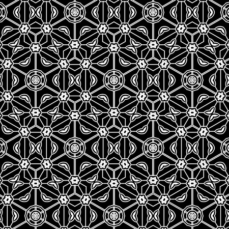 Primitive simple grey retro lace pattern with flowers and circles. Black and white templates of vignettes.