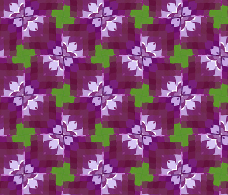 Primitive simple purple, lilac modern pattern with rectangles and flowers