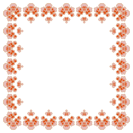 Floral frame for making wedding invitations and holidays. Cherry blossoms on white background. Illustration