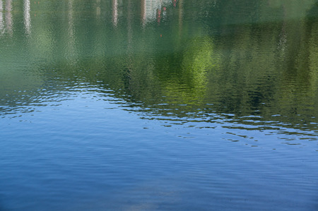 Shot of lake scenic in summer. Blurred nature unfocused background. Lake and forest. Stock Photo