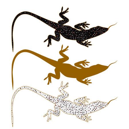 salamandre: Résumé image de agilis lézard de sable. Logo avec différents milieux de couleur. ensemble. Illustration