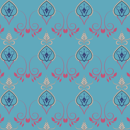 Village floral folk pattern of interwoven flowers and leaves. Vintage ethnic patterns.