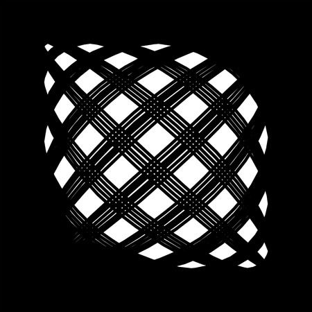 illusory: Delusional abstract pattern in black and white. The Illusory effect of three-dimensional object in the plane. Lines and squares with magic curls.