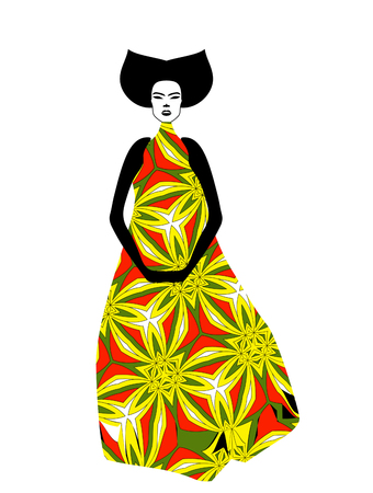 Silhouette of young woman in vintage dress. Vintage Japanese and Oriental style. Illustration