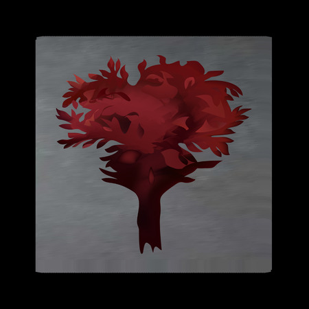 murky: Vintage mystical picture tree in scarlet colors on black background. Burgundy silk drape flowing like blood.