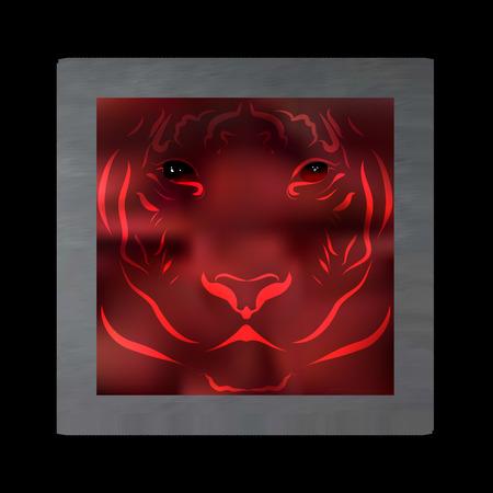 murky: Vintage mystical picture tiger in scarlet colors on black background. Burgundy silk drape flowing like blood. Illustration