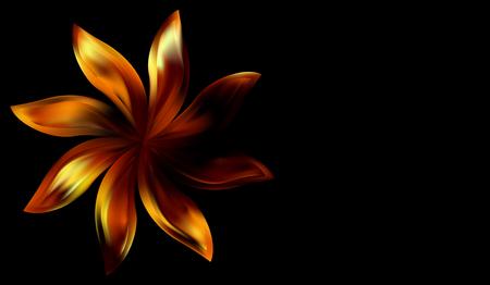 Ethnical Egyptian precious golden floral pattern. Vintage floral ornament on black background.