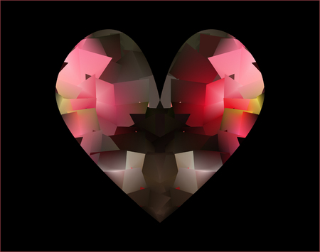 heart chakra red: Abstract expressionism, fantastic pink and red precious stone background. Rose quartz. Gem for the heart chakra. Illustration