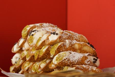 banquet facilities: Italian culinary baking sweet dessert Cannoli Sicilian closeup
