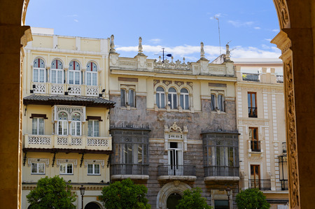 Historic buildings and monuments of Seville, Spain. Architectural details, stone facade and museums Europe. Stock Photo