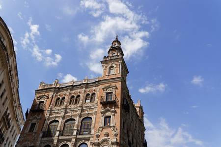Historic buildings and monuments of Seville, Spain. Architectural details, stone facade and museums Europe. Editorial