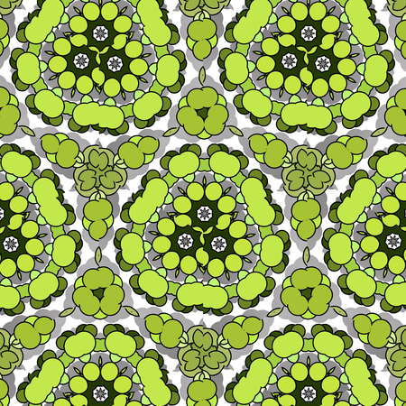 Funny hilarious, amusing and entertaining pattern with bright circles. Abstract natural green background.