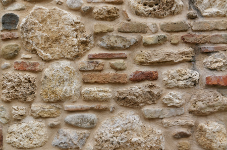 Brick old vintage wall texture background. stains and bricks of different colors. Stock Photo