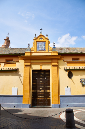 Historic buildings and monuments of Seville, Spain. Architectural details, stone facade and museums Europe. Spanish architectural styles of Gothic and Mudejar, Baroque. San Juan de la Palma
