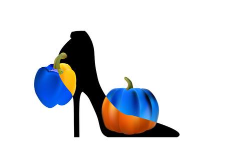 Black elegant high-heeled shoes. The art and fantasy of high fashion. Illustration