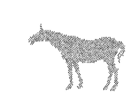 young horse in the steppe. Black silhouette of a horse. White background. Illustration