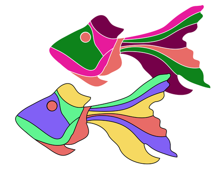 Fish is funny in the manner of fairy tales. Cartoon colourful fish.