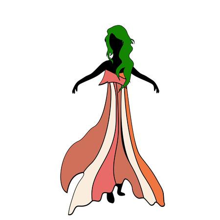 다른 밝은 색상의 패션 슬림 한 드레스 여자 모델의 그림. 녹색 머리 소녀입니다.
