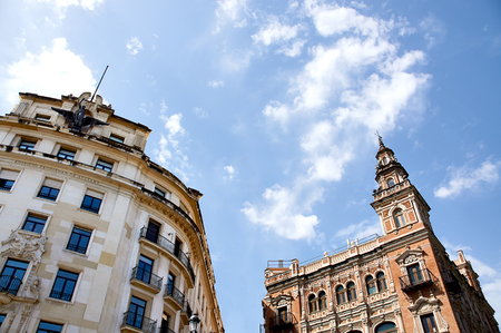 Historic buildings and monuments of Seville, Spain. Architectural details, stone facade and museums Europe. Spanish architectural styles of Gothic and Mudejar, Baroque