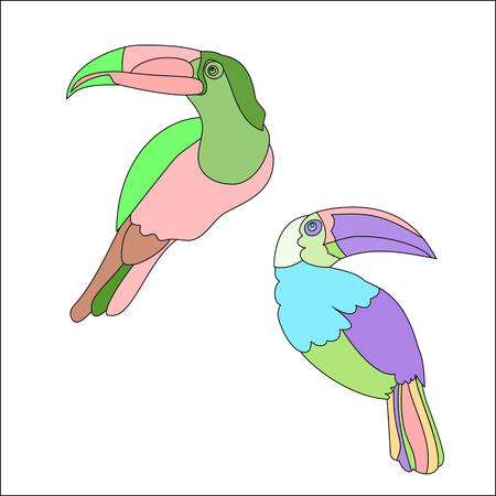 Funny cartoon Rainbow Toucan bird with Golden wings. Bright bird parrot.
