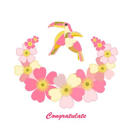Romantic floral background. Flower. Funny cartoon Rainbow Toucan bird