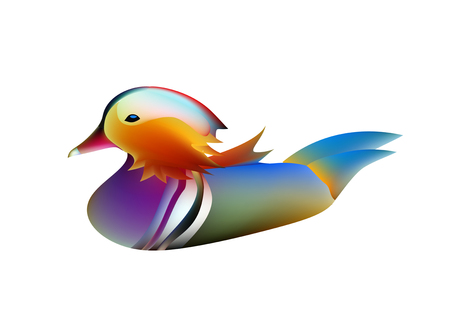 A funny cartoon Mandarin duck. Elegant bright bird, duck illustration.