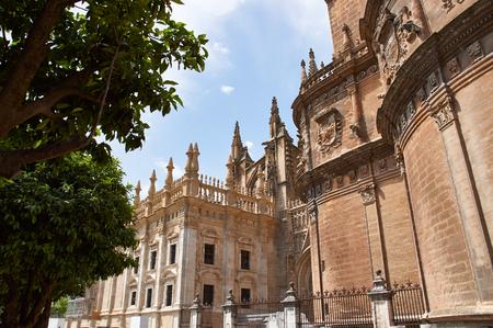 Historic buildings and monuments of Seville, Spain. Architectural details, stone facade and museums. Catedral de Santa Maria de la Sede.
