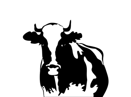 Abstract portrait of big bull. Black and white silhouette of bull on black background.